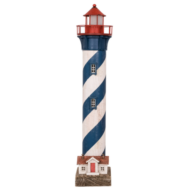 Blue and White Tall LED Lighthouse - 19-in.