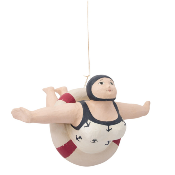 Vintage Lady Swimmer Hanging Figurine - 11-3/4 x 13-1/2-in.