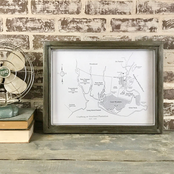 Custom - Stratford Cupheag Map - Reclaimed Wood Frame - 18-1/8-in