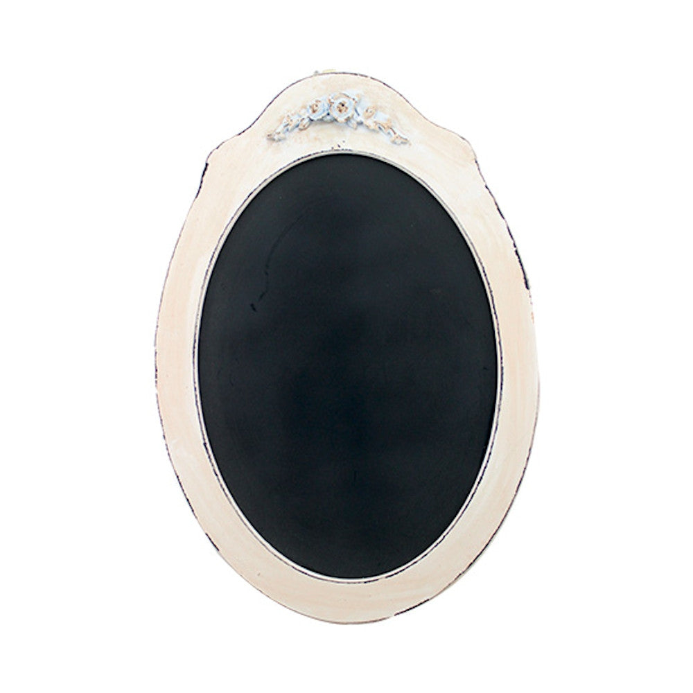 Vintage Oval Shaped Wood Framed Chalkboard Ivory Rose 21-1/2-in - Mellow Monkey