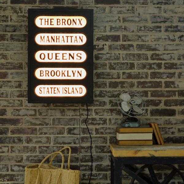 New York Boroughs Lighted Sign – Train Station Inspired Lighted Panel | 30-in
