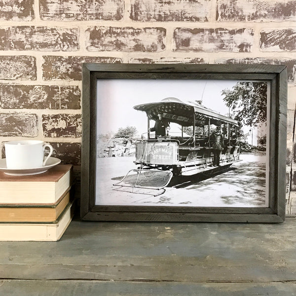 Vintage East Main Street (Stratford Connecticut) Trolley Photo in Reclaimed Wood Frame - Grey - 18-in