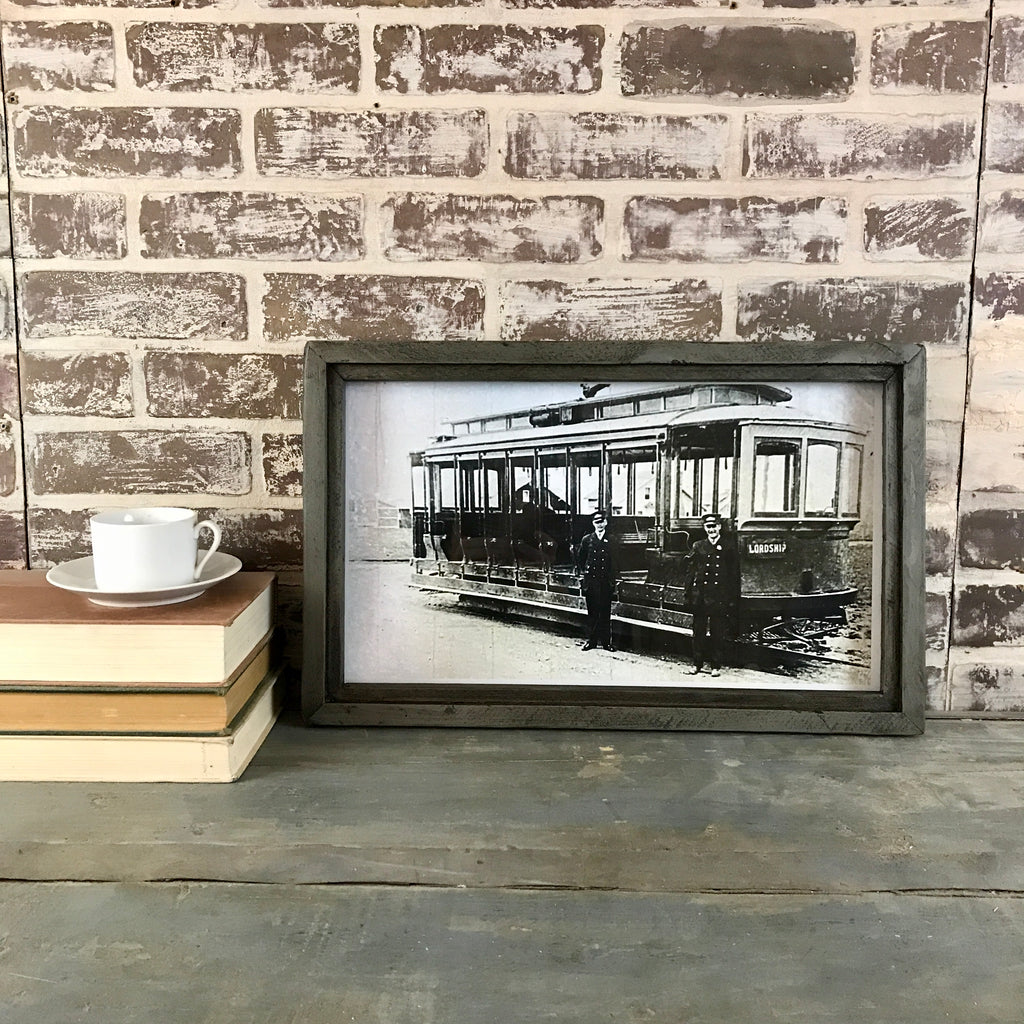 Lordship (Stratford Connecticut) Trolley Photo in Reclaimed Wood Frame - Grey - 20-in