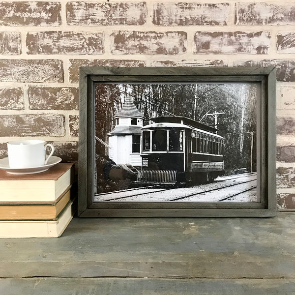 Vintage Shelton Connecticut Trolley Photo in Reclaimed Wood Frame - Grey - 18-in