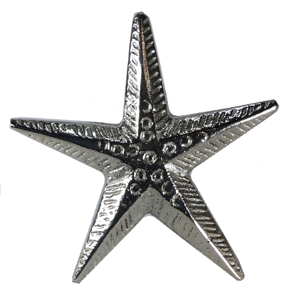Seascape Polished Silver Finish Metal Starfish Drawer Cabinet Cupboard Pull Knob - Large