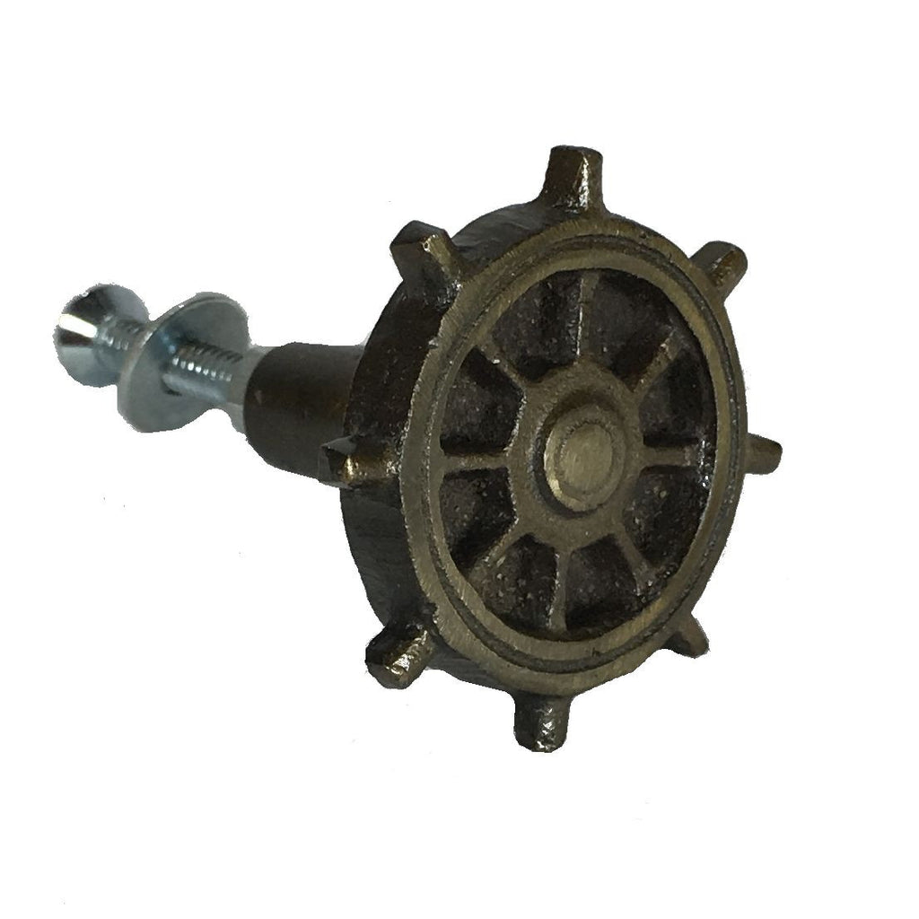 Iron Ship's Wheel Metal Drawer Cabinet Cupboard Pull Knob Antique Brass