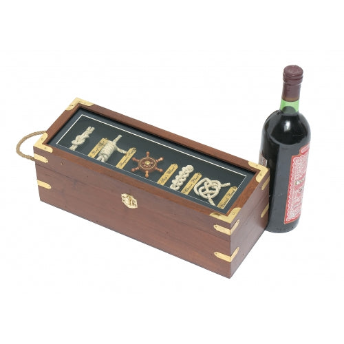 Wooden Knot Guide Board Wine Box with Jute Rope Handle