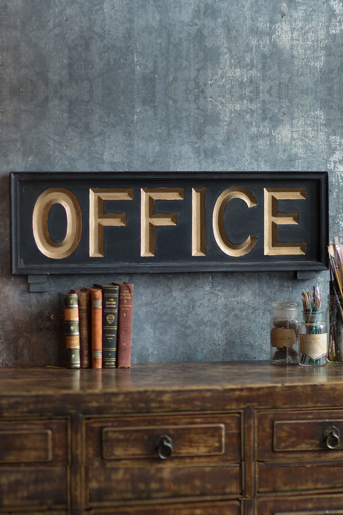 Merveilleux Vagabond Vintage Wooden Office Sign   32 In   Mellow Monkey   1