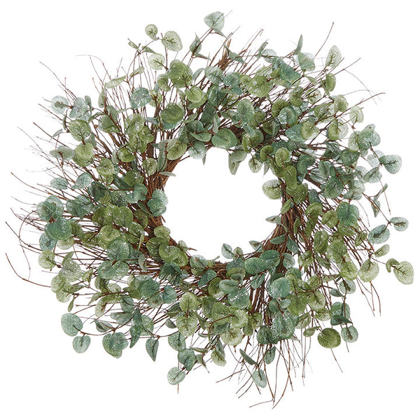 Iced Eucalyptus and Branch Wreath - 24-in