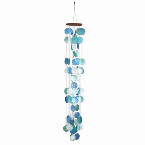Cascading Turquoise, Green & White Capiz Shell Wind Chime - 25-in