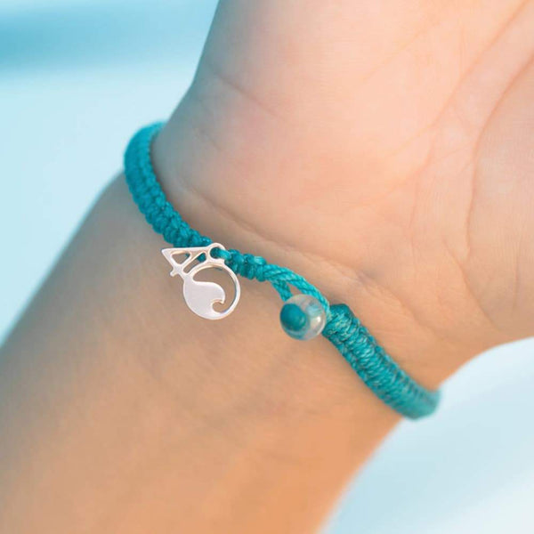4Ocean White-Sided Dolphin Braided Bracelet - Turquoise