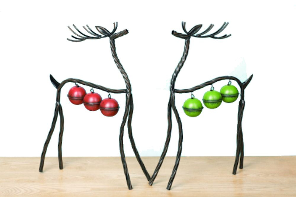 Set of 2 Metal Bell Free Standing Reindeer - Mellow Monkey