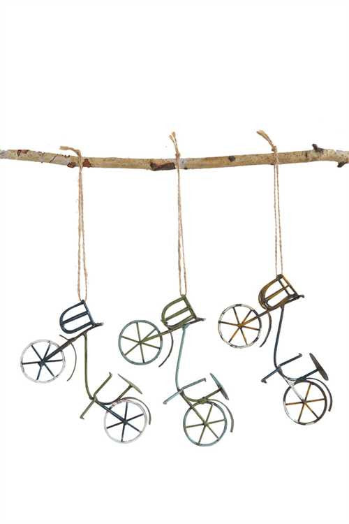 Vintage Miniature Metal Wire and Tin Bicycle Ornaments - Set of 3 - Mellow Monkey