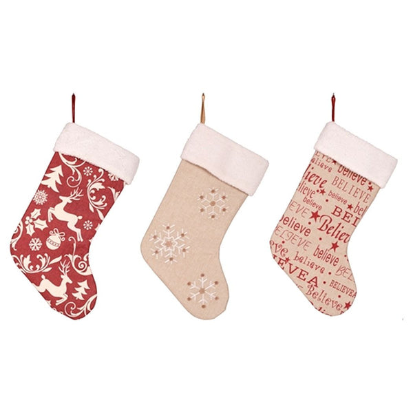 Printed Burlap Holiday Stocking with Sherpa Cuff 18-1/2-in (Retro Reindeer Toile, Snowflake, Believe) - Mellow Monkey  - 1
