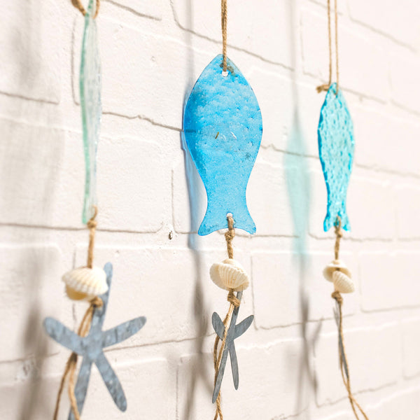 Sea Glass Fish and Metal Sea Star Hanging Ornaments - Set of 3