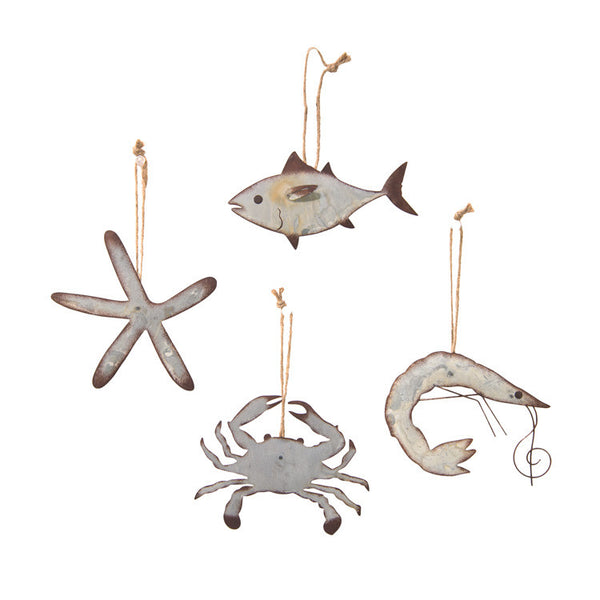 Galvanized Metal Marine Life Hanging Ornaments - Set of 4