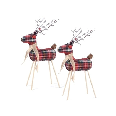 Pair of Red Plaid Freestanding Reindeer - 9-in