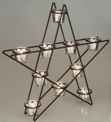 Metal Star Shaped Votive Holder with 10 Mercury Silver Votive Cups - 17-3/4-in