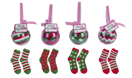 Merry Mistletoes - Red and Green Cozy Socks in Acrylic Ball Ornament
