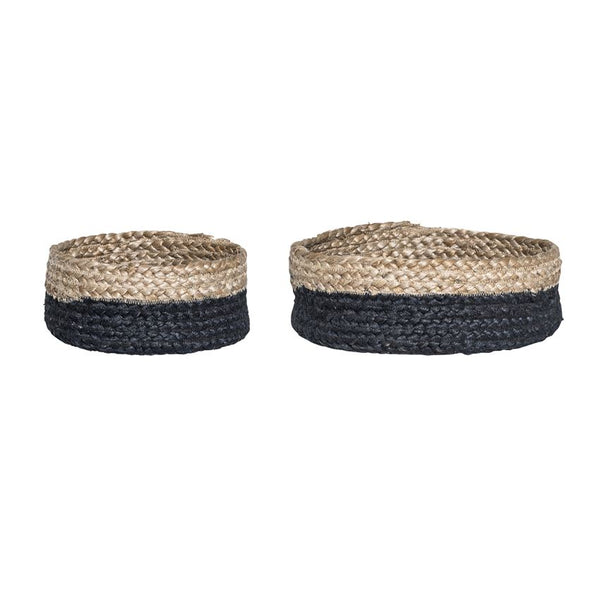 Natural and Black Jute Baskets - Set of 2