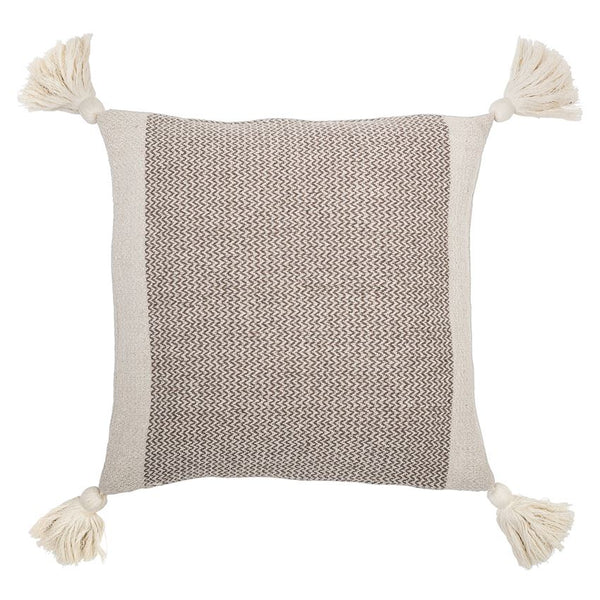 Square Cotton Blend Pillow with Tassels - 18-in - Brown