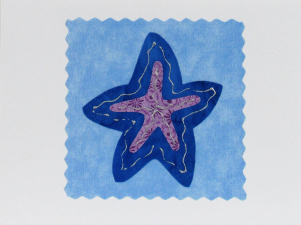 Starfish Card - Hand Made Fabric and Paper Greeting Card