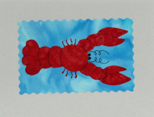 Lobster Card - Hand Made Fabric and Paper Greeting Card
