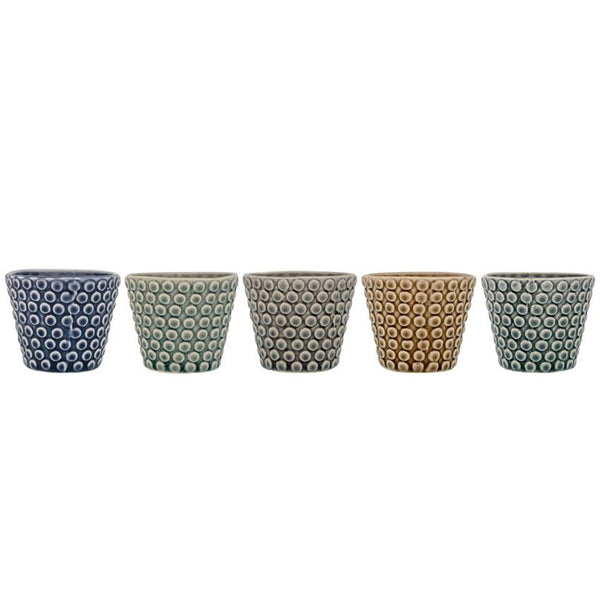 Stoneware Embossed Tealight Holders - 2-3/4-in