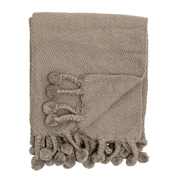 Cotton Woven Throw with Pom Poms - Grey - 60-in