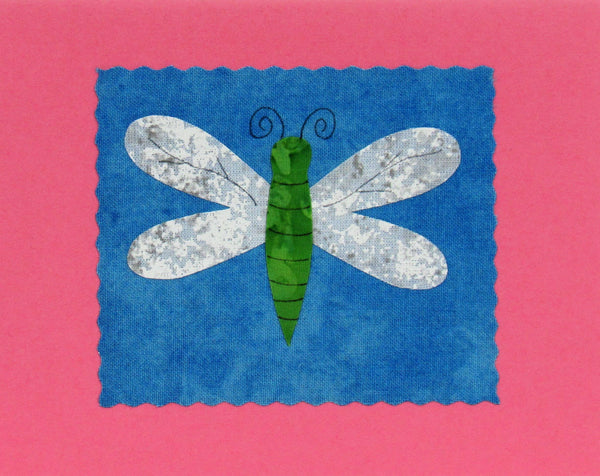 Dragonfly - Handmade Fabric and Paper Greeting Card