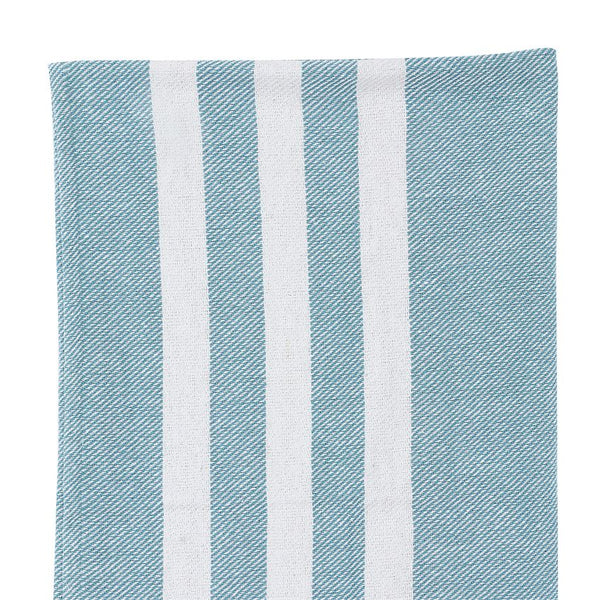 Cotton Blend Knit Blue and White Throw Blanket