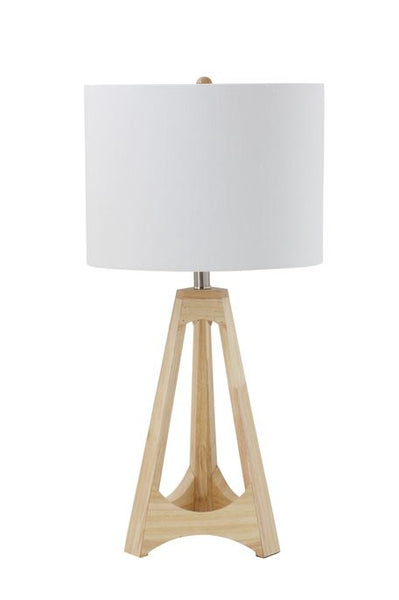 "Wood Table Lamp w/ Linen Shade  8-1/2"" Round x 16""H"