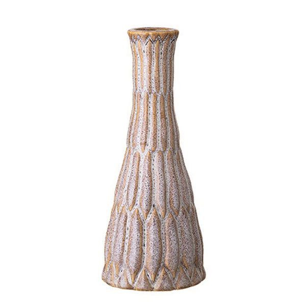 Stoneware Bud Vase With Reactive Glaze - Tan and White - 6-3/4-in