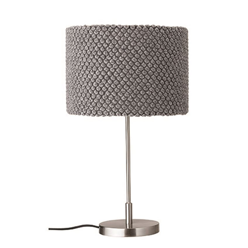 Metal Table Lamp - Wool Shade in Grey - 24-in