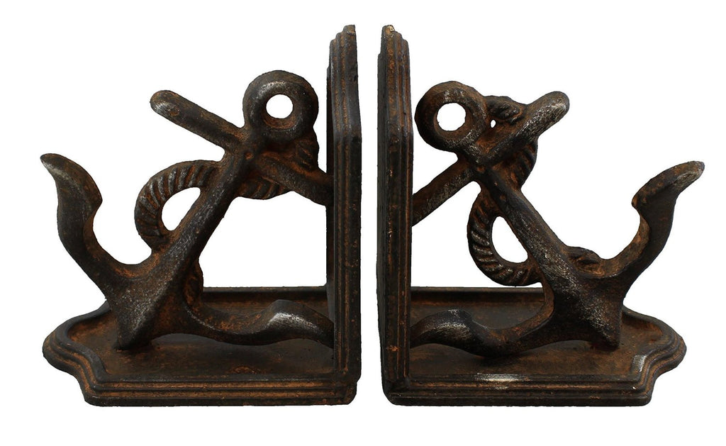Rustic Heavy Cast Iron Nautical Anchor Bookends - Mellow Monkey  - 1