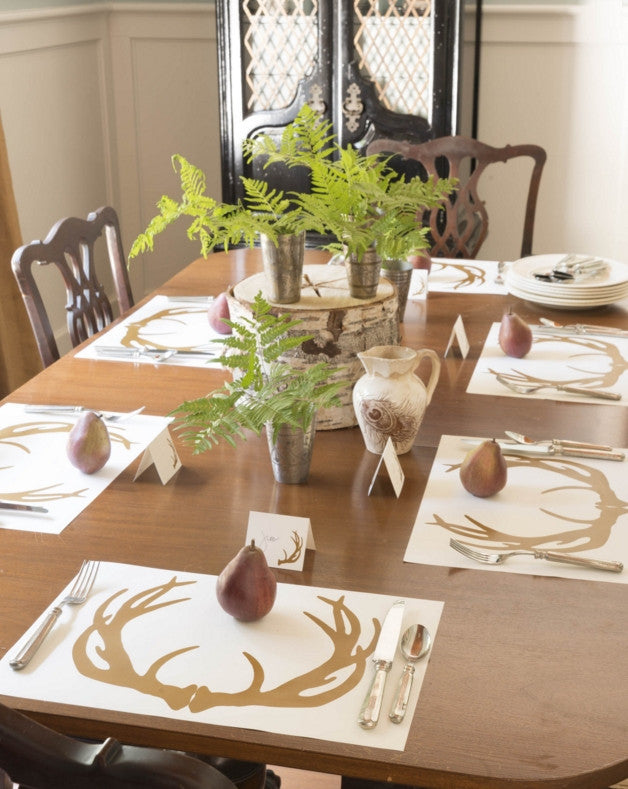 Lodge Style Antler Disposable Paper Placemats - Pad of 50 - Mellow Monkey  - 1