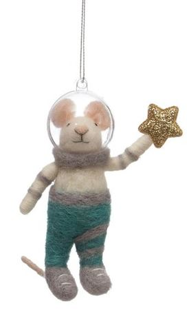 Wool Felt Animal Astronaut Ornament - 5-1/4-in - Mouse