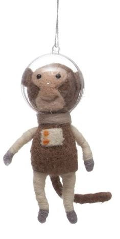 Wool Felt Animal Astronaut Ornament - 5-1/4-in - Monkey