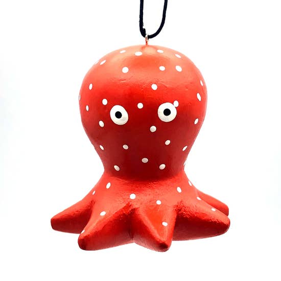 Whimsical Octopus Balsa Ornament - 5-in