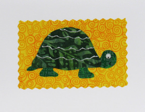 Turtle Card - Hand Made Fabric and Paper Greeting Card
