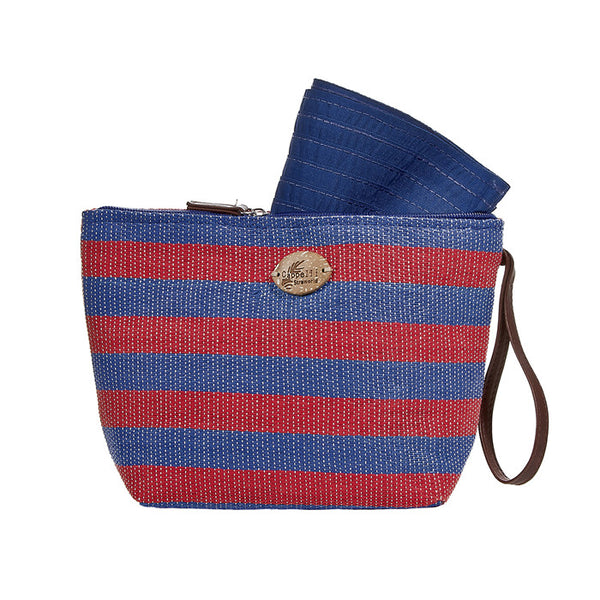 Cappelli Straworld Striped Pack-A-Hat Sun Hat with Straw Tote Hand Bag (Red & Blue)