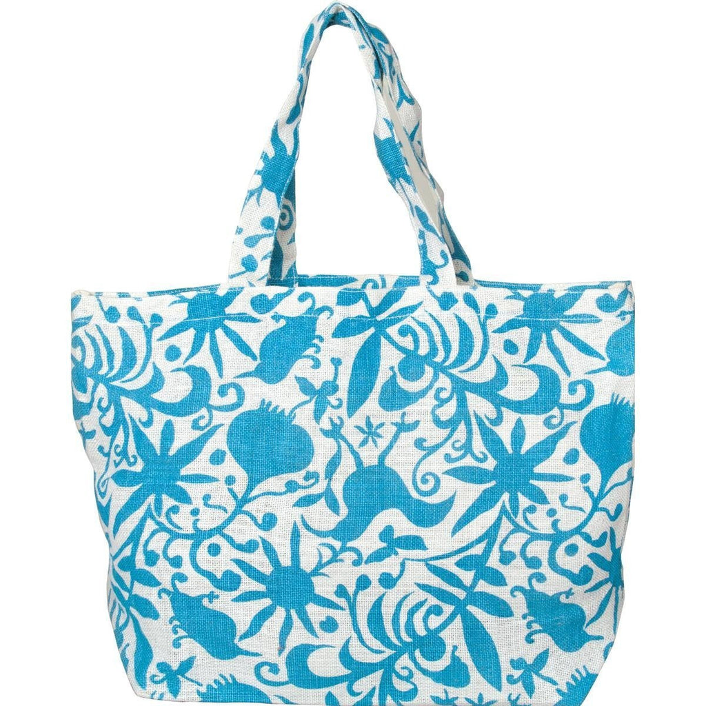 Fleur Ocean Blue Lightweight Jute Tote Bag From rockflowerpaper - Mellow Monkey