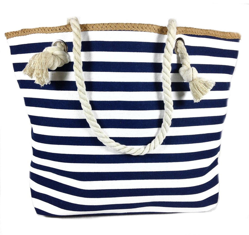 Banded Striped Beach Town Tote Bag with Rope Handles (Blue and White) - Mellow Monkey  - 1