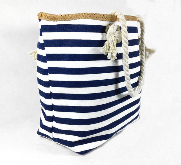 Banded Striped Beach Town Tote Bag with Rope Handles (Blue and White) - Mellow Monkey  - 2