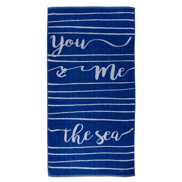 You, Me, the Sea - Oversized Thick, Luxurious Cotton Beach Towel - 70-in