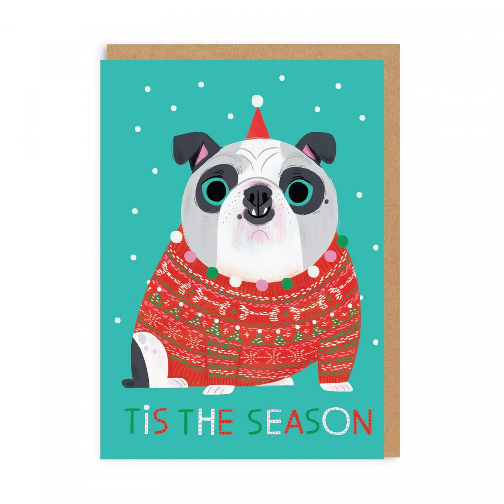 Tis The Season Bulldog Holiday Greeting Card