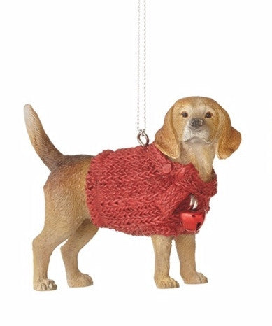 Lap Dog in Red Sweater Holiday Christmas Ornament - Mellow Monkey  - 4
