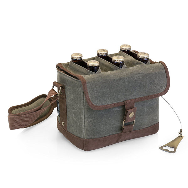 Insulated Beer Caddy with Bottle Opener | 6 Bottle | Khaki Green/Brown