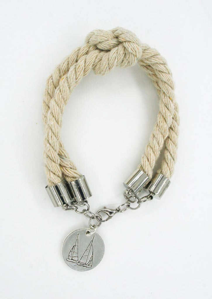 Silver Sailboat Double Rope Bracelet