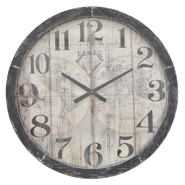 Vintage Map of the World Wood Wall Clock - 30-in